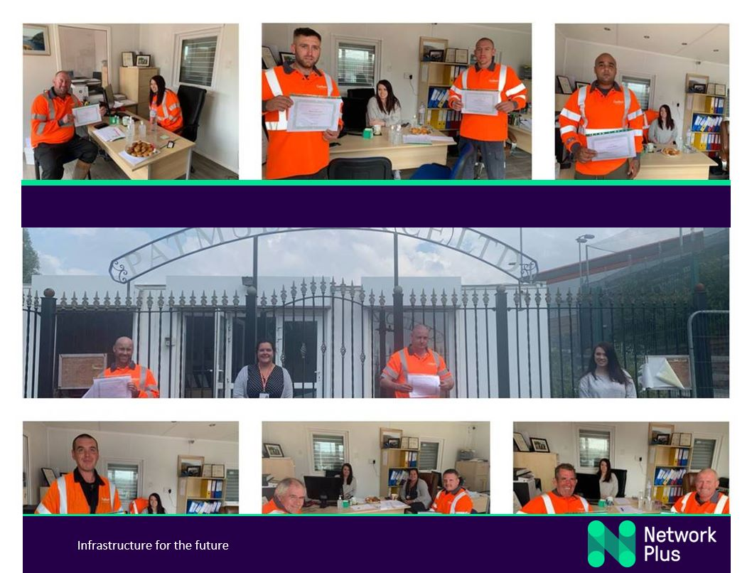 collage photo showing members of PMCE team receiving customer service awards